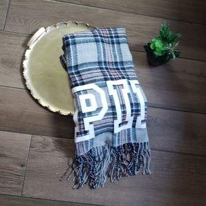 Victoria's secret pink plaid blanket scarf large